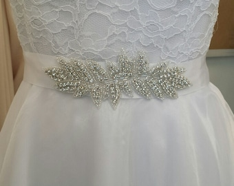 Rhinestone Sash, Bridal Sash Belt, Rhinestone Applique on Double Face Satin Ribbon