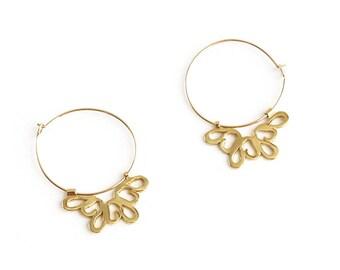 Gold Flower Earrings, Gold Hoop Earrings, Bohemian Earrings, Gold Hoops, Floral Earrings, Boho Earrings, Statement Earrings