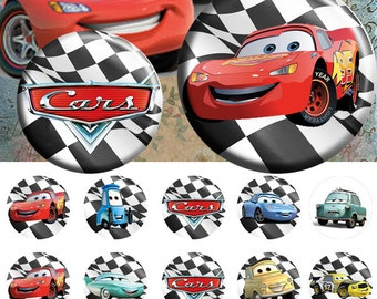 "Cars Disney 25 mm - One 4x6 high-resolution, 300dpi, JPEG file with 15 1"" Circle images."