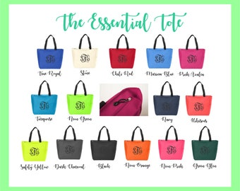 Monogram Tote Bags - Personalized Zipper Tote - Monogrammed Canvas Tote | Bridal Party Gift | Bridesmaid | Teacher Gift | Gift for Her