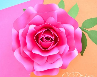 Paper Rose Template, Small Paper Flower Rose Template, Step by Step Easy Paper Rose, SVG Cut Files, Printable PDF, Mini Alora Rose