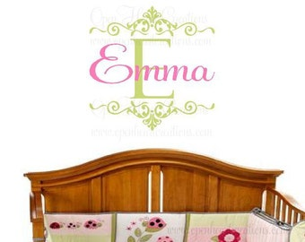 """Initial and Name Wall Decal for Girl or Teen - Personalized Vinyl Wall Decal - Baby Nursery - Shabby Chic - Elegant  22""""H x 22""""W FN0187"""