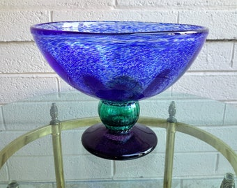 """Large Kosta Boda Swedish Glass Bowl Signed G. Sahlin Blue Green Violet Hand Crafted Glass 8 3/4"""" Tall x 11 1/2"""""""