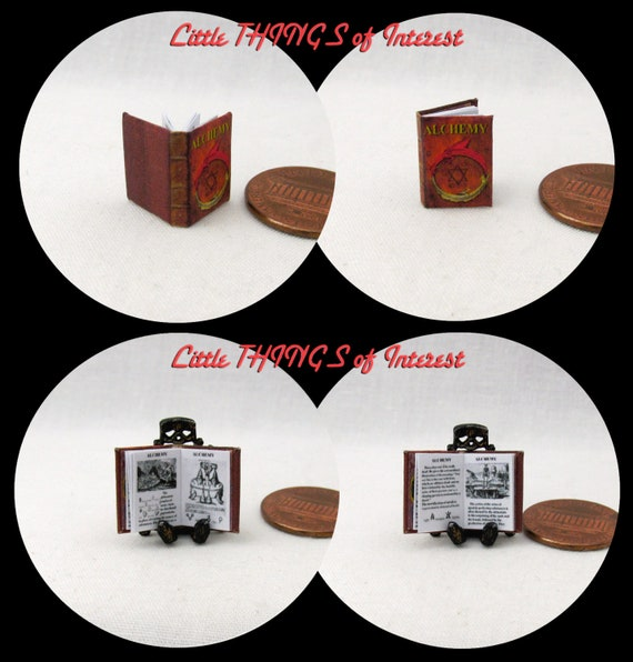1:24 SCALE BOOK ALCHEMY Miniature Book Dollhouse Illustrated Book Potter Magic Wizard Witch