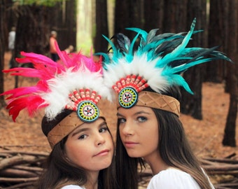 Native American Woman's/Childs  Tribal  Headband ~ Feather Faux Fur ~ Festival Costume ~