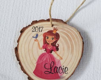 Christmas tree ornaments wood slices Personalized Princess name 2017 real wood ornament real tree bark holiday decor burlap string girl