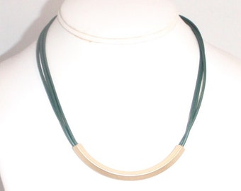 Metallic Ocean Green Leather Cord Multistrand and Gold Slider Choker