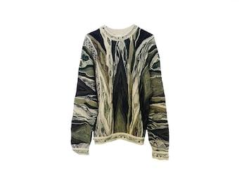 Coogi Sweater Authentic Coogi of Australia Vintage Biggie's Sweater Mens Large Camo Sweater Natural Colors