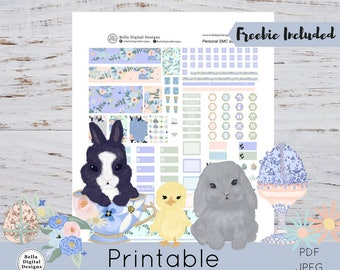 Personal size SMC March Bloom Monthly kit printable planner stickers. Glam glitter Easter flowers eggs Spring
