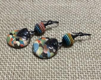 Japanese Fan Fanatic drop ceramic earrings boho indie