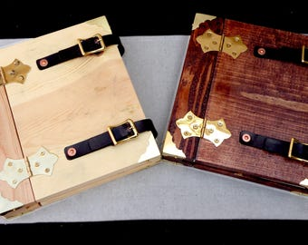 Magick Tome Wood book BLANK sheets