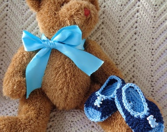 Crocheted Sandals Infant Boy 6 9 mo Navy Blue Cotton Yarn