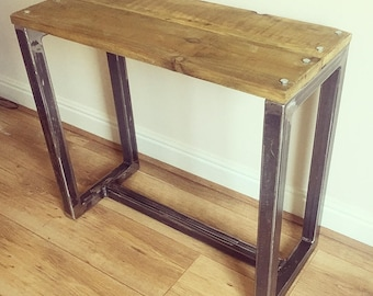 Industrial Side Table: Contemporary Steel Base With Rustic Wooden Top