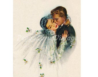 Wedding 17 Beautiful Bride and Groom a Digital Image from Vintage Greeting Cards - Instant Download