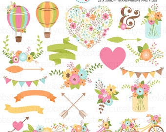 Bright Floral Romance Clipart Set - wedding clip art, floral heart, flowers, arrows - personal use, small commercial use, instant download