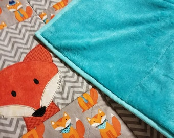 Clever fox baby quilt, play mat,