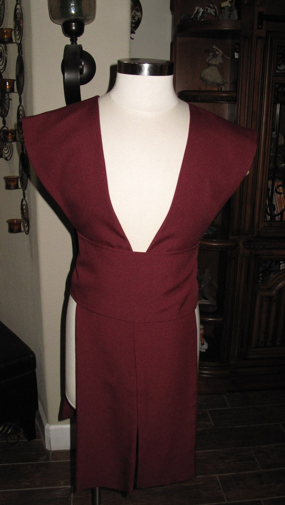 Burgundy poplin fabric tabards with sash in several sizes