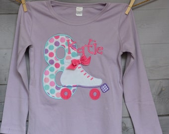 Roller Skate Birthday Applique Shirt or Bodysuit Boy or Girl