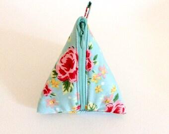 Coin purse/ makeup bag/ fun triangle bag/ makeup pouch/ coin pouch/ fabric purse/ blue coin purse/ small makeup bag/ fabric coin purse/
