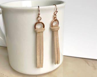 Suade leather earrings, long rose gold earrings, modern everyday earrings, statement earrings, sleek earrings, gift