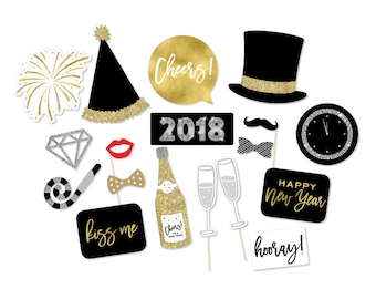 New Year's Photo Booth Props - New Years Props - New Year's Photo Booth - 2018 New Year's - Black Gold Photo Props - NYE Party - Wedding
