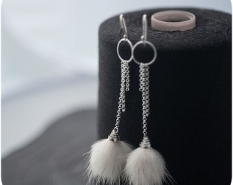 Furry Pom Pom in Chains - Sterling Silver and Recycled Fur Earrings