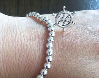 Nautical wheel bracelet