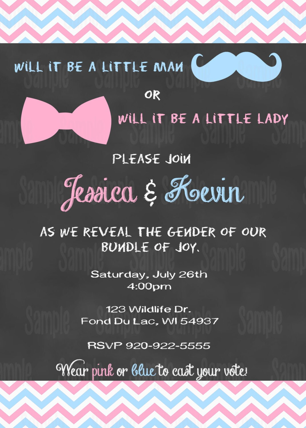 Printable Gender Reveal Invitation plus FREE blank matching