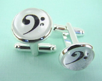 SIMPLE BASS CLEF Silver Cuff Links -- Elegant simple bass clef cufflinks for him or her, Gift for musicians, Wedding cuff links