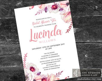Bridal shower tea party Pink Floral printable invitations. Pink watercolour floral.