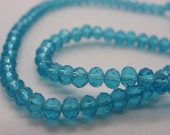 100 beads 4 mm crystal glass has copper faceted transparent