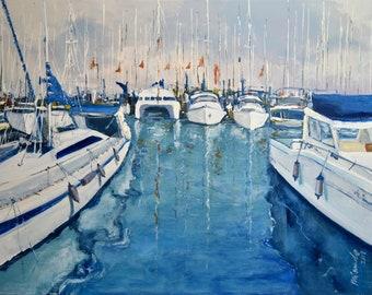 Oil painting, Original canvas painting, Seascape Painting, Wall Art, Ocean Art, Handmade, Spain