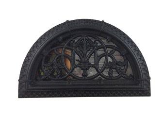 """Half Round Decorative Gate Fence Insert ACW63 - Cast Aluminium Black - Half Round 9.75"""" Diameter"""