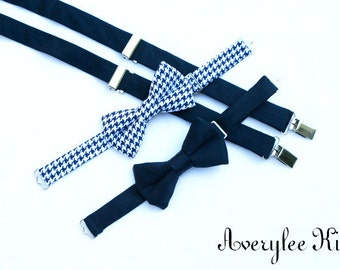 Boys Navy Blue Suspenders and Navy Blue Houndstooth Bow Tie Set,  Toddler Bow tie, Infant Bowtie, Wedding Outfit,  Ring Bearer Suspenders