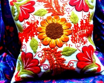 FREE SHIPPING / New! Peruvian Hand Embroidered Pillow Cover