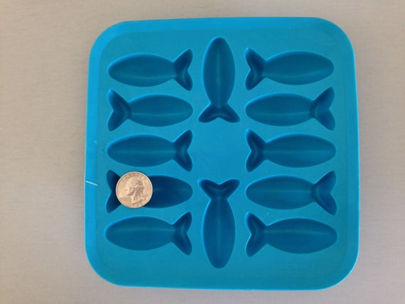 12 Fish mold, 3D food safe silicon push mold for resin, fondant, cake decorating, and polymer clay