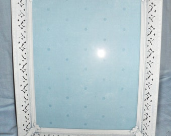 """Vintage Metal 1950's 8""""by10"""" Picture photo Frame Shabby Chic'd in light blue tint"""