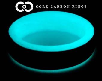 Carbon Fiber Glow Ring-Teal