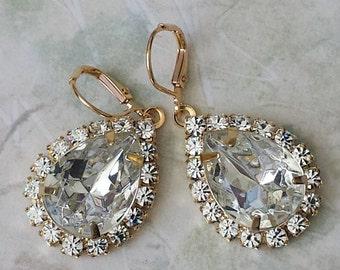 Clear Crystal Swarovski Teardrop Earrings Swarovski Drop Earrings Swarovski Crystal Earrings Swarovski Rhinestone Earrings Prom Jewelry
