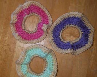 BUNDLE | 3 Donut Scrunchies | Crochet Donut Scrunchies