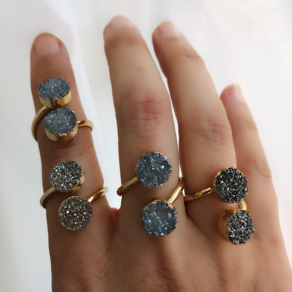 Druzy statement rings, Druzy jewelry