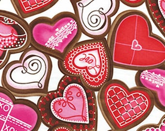 LOVE is All Around - Sweet Hearts in White with Glitter Accents - Cotton Hearts Quilt Fabric - Benartex Fabrics - 4910G-09 (W3889)