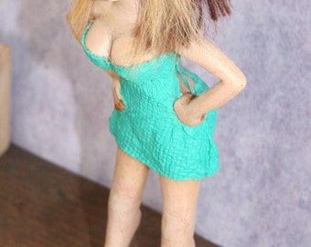 OOAK Realistic 1 12 Scale Doll-house Smoking Woman tight mini-dress and heels **Made to Order**