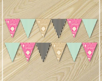 Ice Cream Party - Paper Bunting Flag Banner - Party Printables