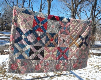 Vintage Patchwork Quilt, 70in x 90in Assorted Fabric, Full to Queen Bed