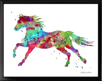 Wild Stallion - Abstract Horse - Watercolor Print - Purple, Pink, Aqua -  Frame NOT Included