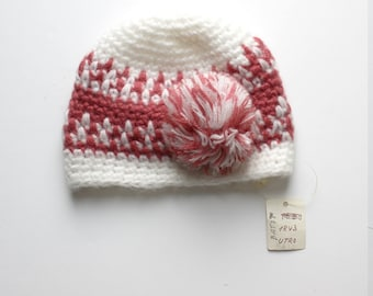 FRENCH Vintage 60/70's / kids / winter hat / off white and old pink + pompom / crocheted / new old stock