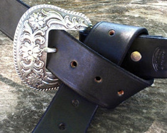 "Hand Made Leather Pirate Sword Belt- 1 1/2"" wide"