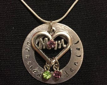 Mom hand stamped necklace