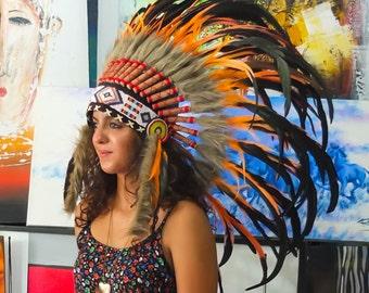 El Original - Real pluma naranja jefe indio tocado réplica 75cm, sombrero del estilo americano nativo traje mano hecho guerra Bonnet